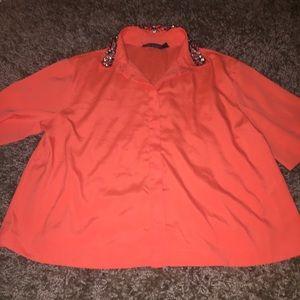 Top shop orange silk embellished top size 2